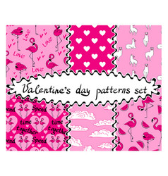 Valentines day seamless patterns collection vector