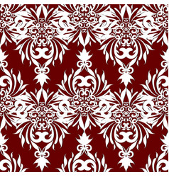 vintage damask seamless pattern floral red vector image