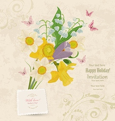 Vintage invitation card with bouquet of fine vector
