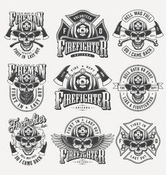 Vintage monochrome firefighting labels set vector