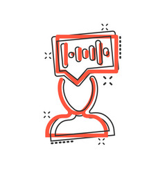 Voice recognition icon in comic style vector