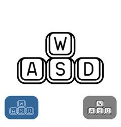 Wasd keys set simple outline style gaming vector