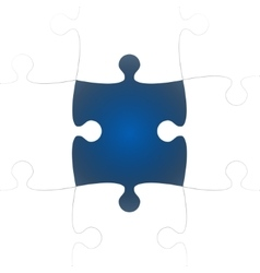 White Puzzle Pieces with One Blue Missing vector image