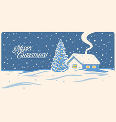 winter landscape with house and festive christmas vector image