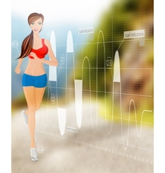 Woman running technology vector image