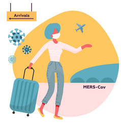 Woman travelling with medical face mask and travel vector