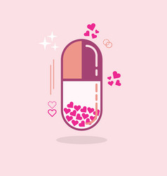 abstract close up of pink hearts vertical capsule vector image vector image