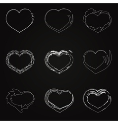 abstract white unhappy heart icons vector image vector image