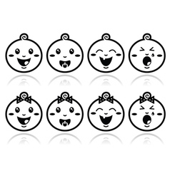 Baby boy baby girl face - crying with soother s vector image