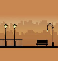 beauty landscape of street lamp with fence vector image