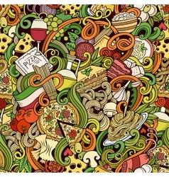 Cartoon hand-drawn doodles of italian cuisine vector