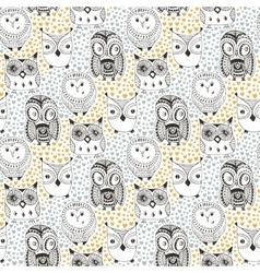 Childish pattern with funny owl Doodle hand drawn vector image vector image