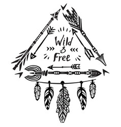 hand drawn wild free lettering vector image