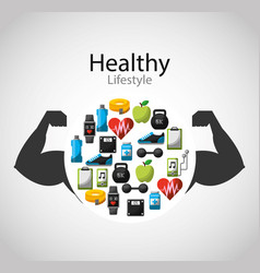 healthy lifestyle concept icons vector image
