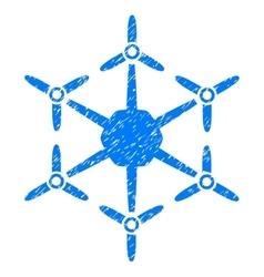 Hexacopter Grainy Texture Icon vector image vector image