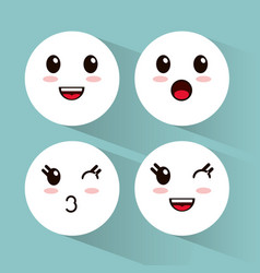 kawaii emoji faces collection vector image