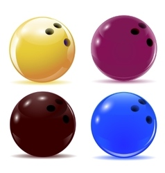 Multi-colored bowling balls isolated objects with vector