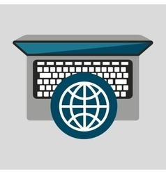 person working laptop globe social media graphic vector image vector image