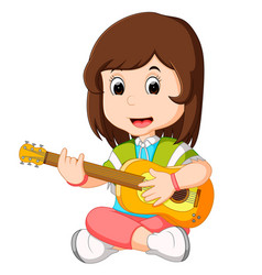 a girl playing guitar vector image vector image