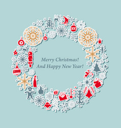 christmas card vintage wreath with xmas icon vector image