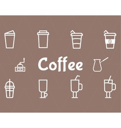 Coffee Line Icons Set vector image