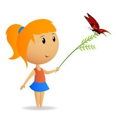 cute little girl with green branch with butterfly vector image vector image