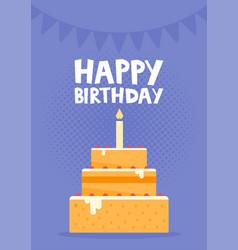 happy birthday card design with cake vector image