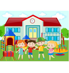 kindergarten students at the playground vector image