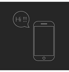 white outline smartphone and speech bubble with hi vector image vector image