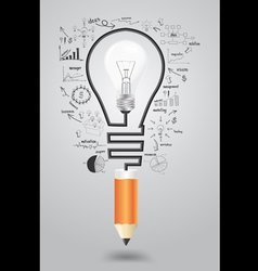Light bulb with icons modern business and pencil vector image vector image