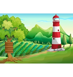 Scene with lighthouse and farmyard vector image