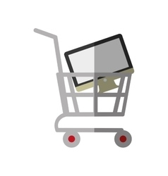 shopping cart online computer digital color shadow vector image