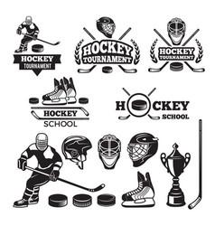 sport labels for hockey team badges set vector image