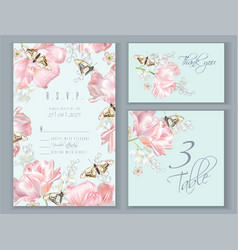 tulip butterfly card set vector image