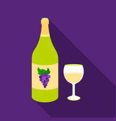 white wine icon in flat style isolated on white vector image vector image