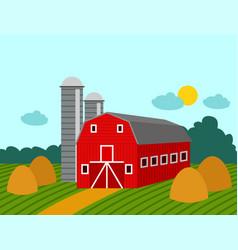 farm building rural agriculture farmland nature vector image
