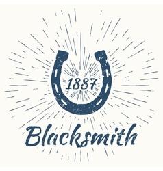 horseshoe and vintage sun burst frame Blacksmith vector image vector image