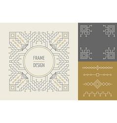 Retro vintage set of line monogram frame design vector image