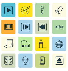 set of 16 multimedia icons includes start song vector image vector image