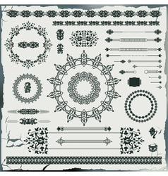 set of vintage floral pattern elements vector image