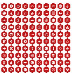 100 logotype icons hexagon red vector