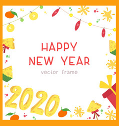 2020 new year holiday square frame vector