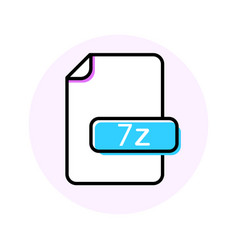 7z file format extension color line icon vector image