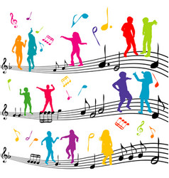 Abstract music note with silhouettes of kids vector