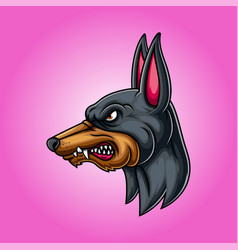 Angry head mascot doberman vector
