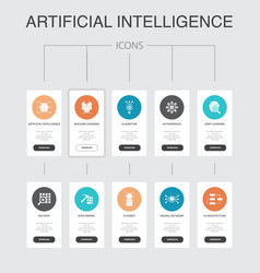 artificial intelligence infographic 10 steps ui vector image