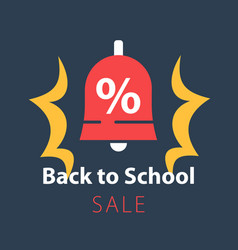 Back to school season sale ringing bell vector