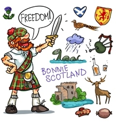 Bonnie Scotland cartoon clipart collection vector image