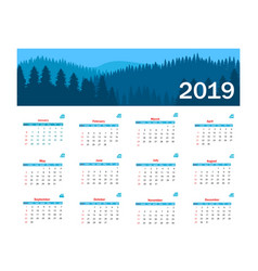 calendar 2019 template week starts on vector image