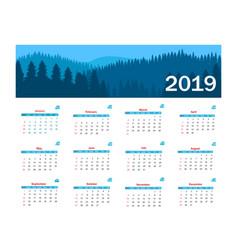 calendar 2019 template week starts vector image